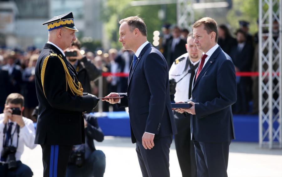 Prezydent Andrzej Duda w czasie obchodów Dnia Strażaka