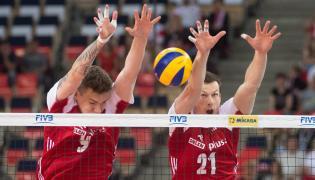 Bartłomiej Lemański (L) i Rafał Buszek podczas meczu z Iranem w Lidze Światowej siatkarzy