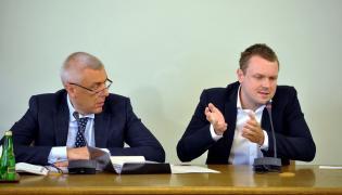 Roman Giertych i Michał Tusk w czasie przesłuchania tego ostatniego przez komisję śledczą ds. Amber Gold