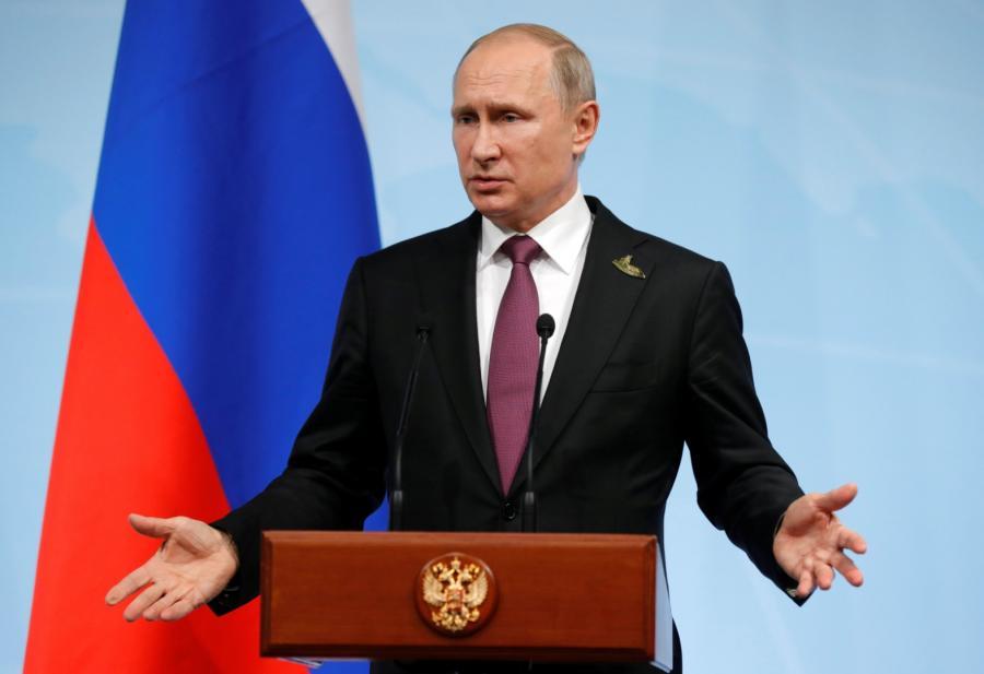 Prezydent Rosji Władimir Putin na konferencji prasowej w Hamburgu.