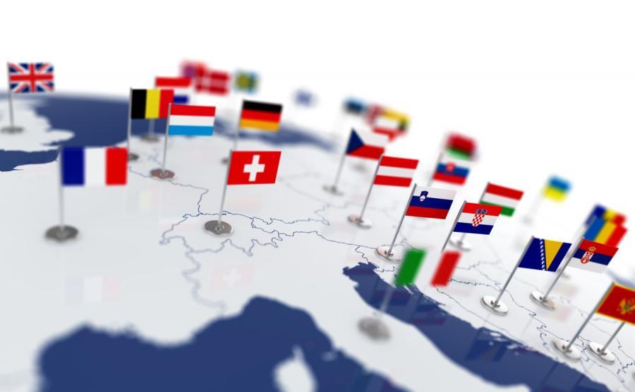 Europejskie flagi na mapie