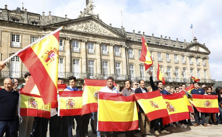 Protestujący Katalończycy