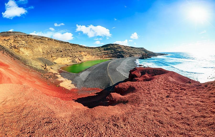 Lanzarote, wulkaniczne jezioro El Golfo