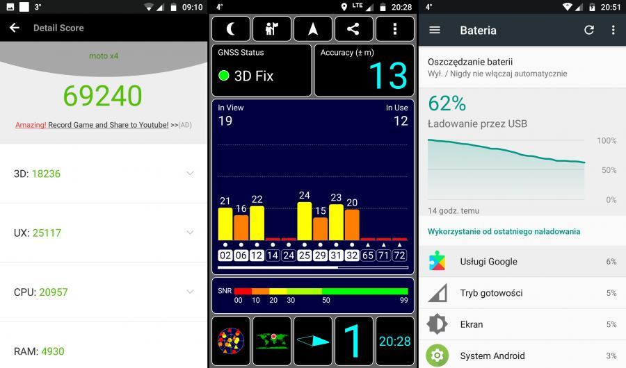 Motorola Moto X4 - AnTuTu Benchmark, GPS, bateria