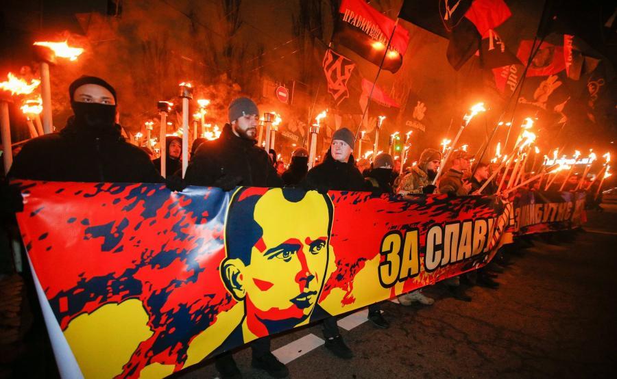 Demonstracja ukraińskich nacjonalistów