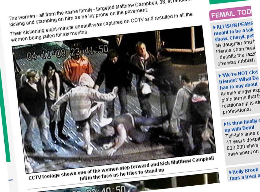 Zobacz, jak kobiecy gang atakuje mężczyznę