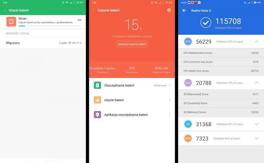 Xiaomi Redmi Note 5 - bateria, AnTuTu Benchmark