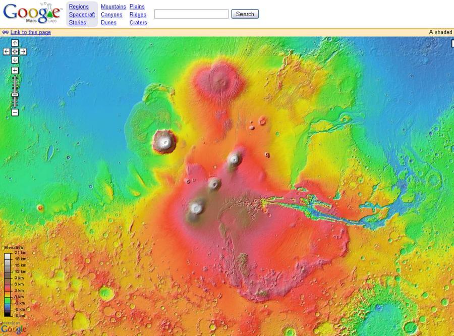 Google Earth przedstawia Marsa