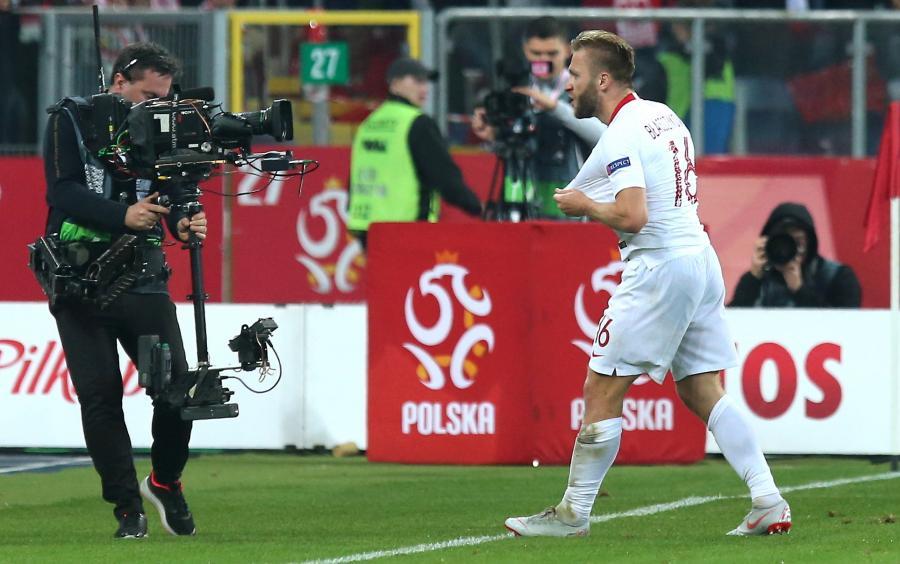 Radość Jakuba Błaszczykowskiego po zdobyciu bramki w meczu z Portugalią piłkarskiej Ligi Narodów w Chorzowie
