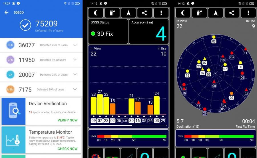 Alcatel 5V - AnTuTu Benchmark, GPS