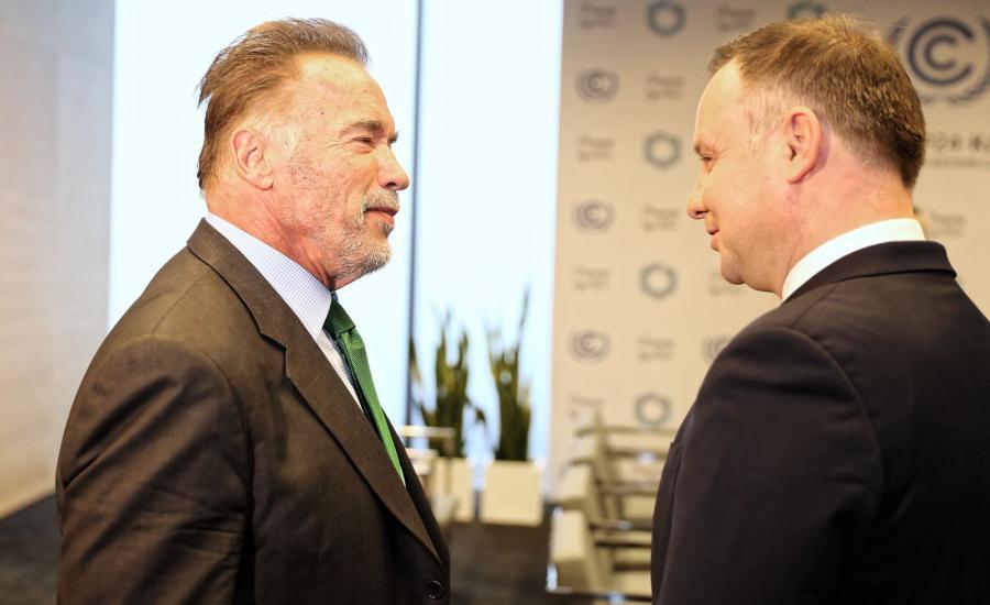 Prezydent Andrzej Duda oraz były gubernator Kalifornii Arnold Schwarzenegger
