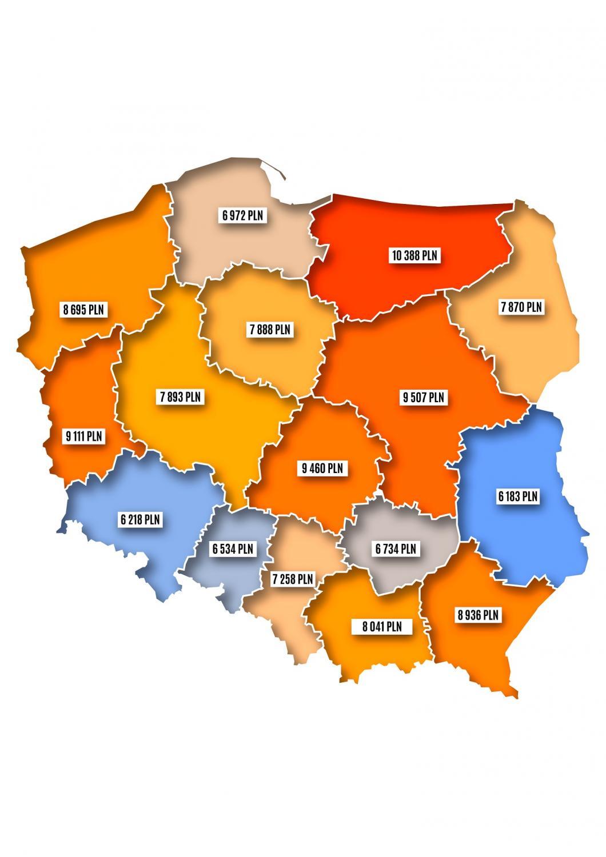 Średnie wartości rezerwacji świątecznch w regionach