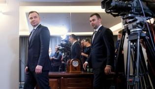 Prezydent Andrzej Duda i rzecznik prezydenta Błażej Spychalski