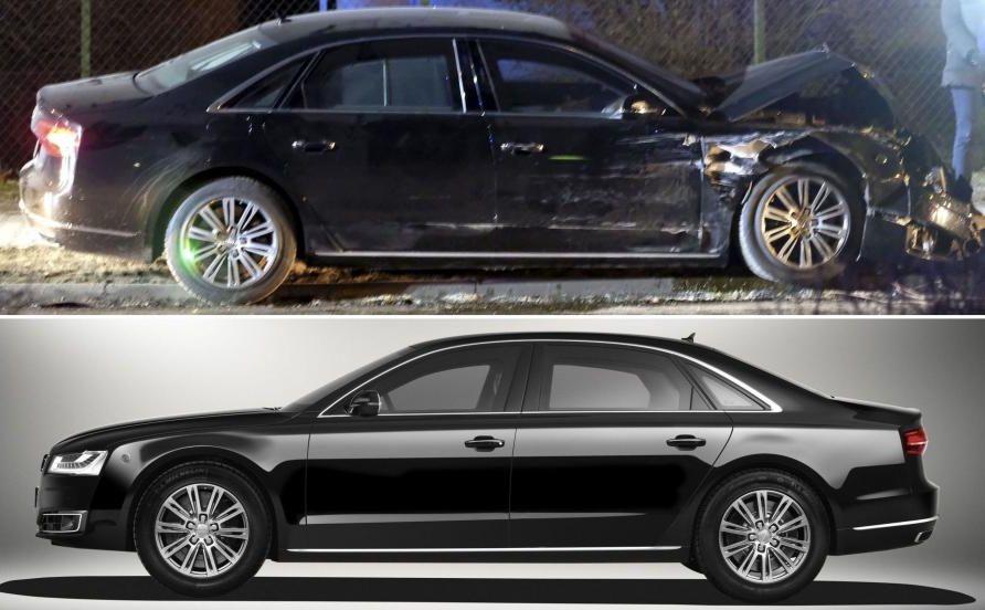 Audi A8 L Security - pancerna rządowa limuzyna rozbita o drzewo w Oświęcimiu