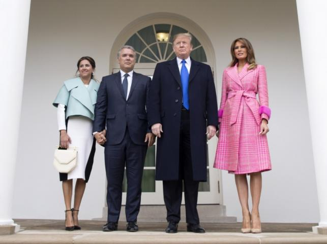 Maria Juliana Ruiz Sandoval i Ivan Duque oraz Donald i Melania Trumpowie