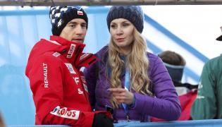 Kamil Stoch (L) wraz ze swoją żoną Ewą Bilan-Stoch (P)