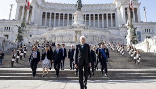 Prezydent Sergio Mattarella podczas uroczystości Święta Wyzwolenia