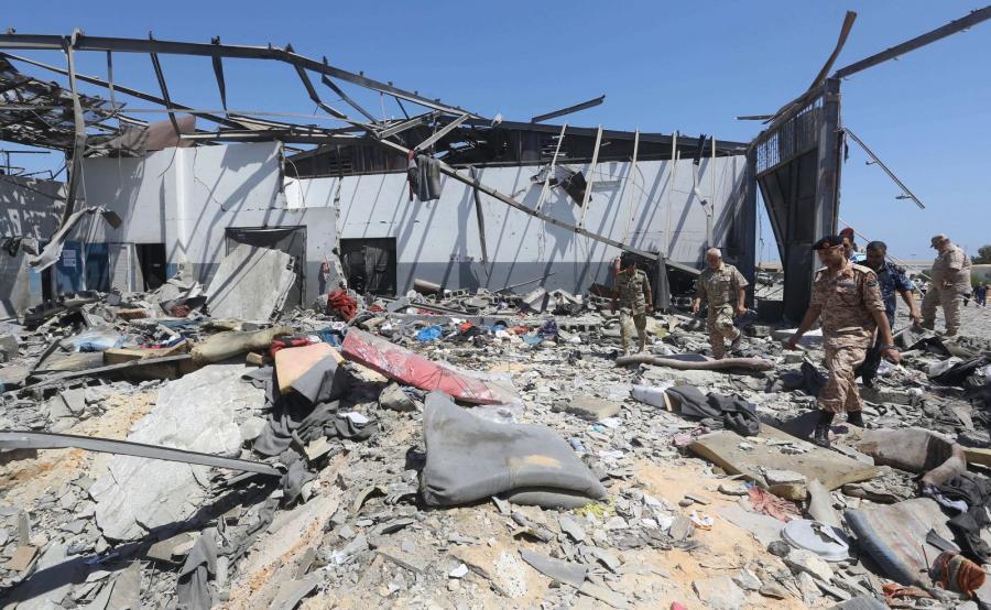 Zbombardowany ośrodek dla nielegalnych imigrantów w Libii