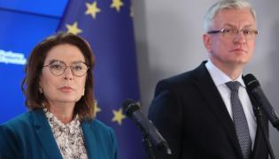 Wicemarszałek Sejmu Małgorzata Kidawa-Błońska (L) i prezydent Poznania Jacek Jaśkowiak (P)