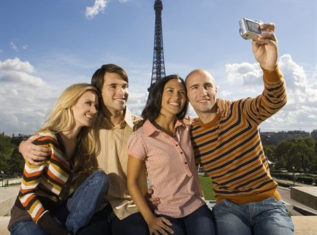 Paris, France --- Friends Photographing Themselves --- Image by © Randy Faris/Corbis