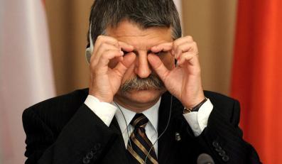 Spiker węgierskiego parlamentu Laszlo Kover w czasie praskiego spotkania przedstawicieli Grupy Wyszehradzkiej