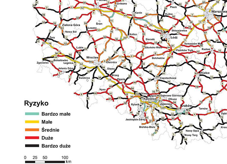 Mapa ryzyka indywidualnego - Polska południowo-zachodnia/źródło EuroRAP