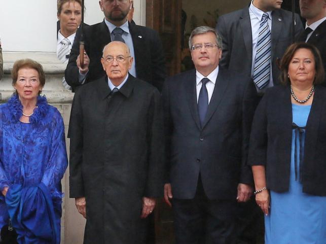 Anna i Bronisław Komorowscy oraz Clio i Giorgio Napolitano