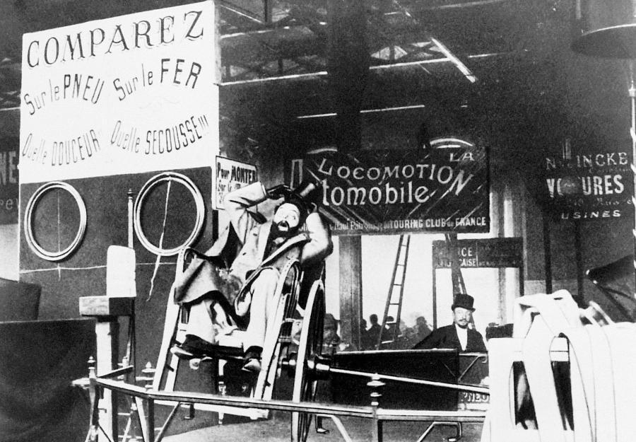 Stoisko Michelin na targach rowerowych w 1895 r.