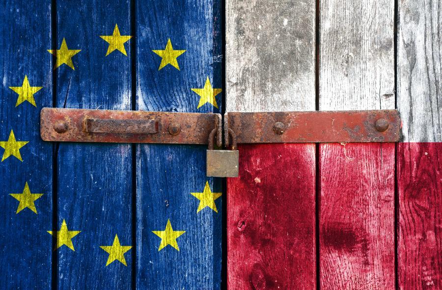Drewniane drzwi pomalowane w kolorach flag: Unii Europejskiej i Polski