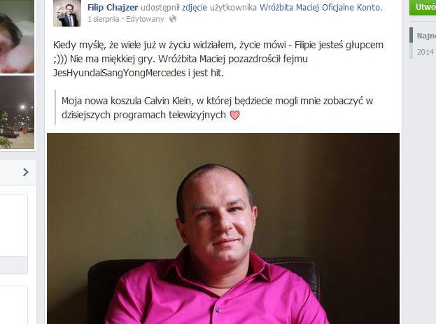 Filip Chajzer drwi z wróża Macieja