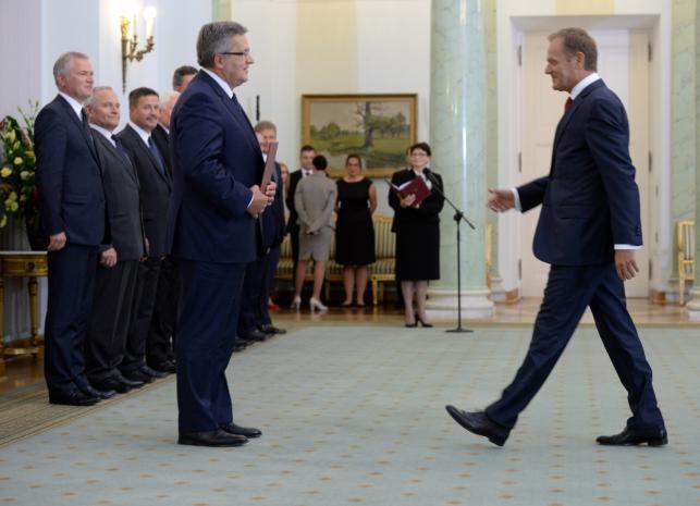 Uroczystość przyjęcia przez prezydenta RP dymisji Rady Ministrów w Pałacu Prezydenckim w Warszawie