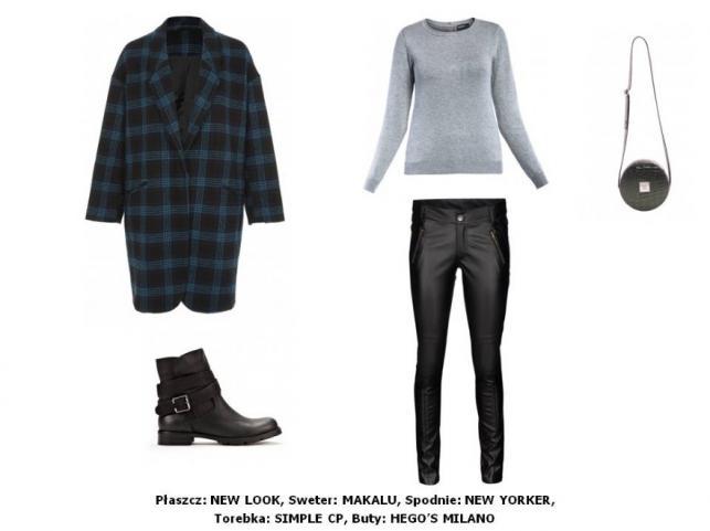 Płaszcz New Look: 249,90 pln Sweter Makalu: 119 pln Spodnie New Yorker: 119 pln Buty HEGO'S MILANO: 379 pln Torebka Simple CP: 499,90 pln