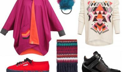 Sweter i płaszcz Oak Yarn, buty Badura, trampki Suoerga, gumka i szal Topshop