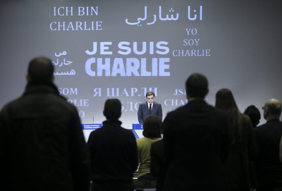 Centrum prasowe w siedzibie Komisji Europejskiej w Brukseli.  Świat w reakcji na zamach we Francji