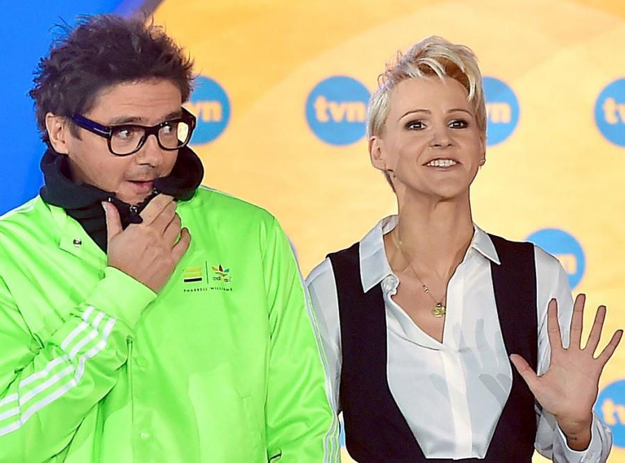 Kuba Wojewódzki i Agnieszka Chylińska na konferencji TVN