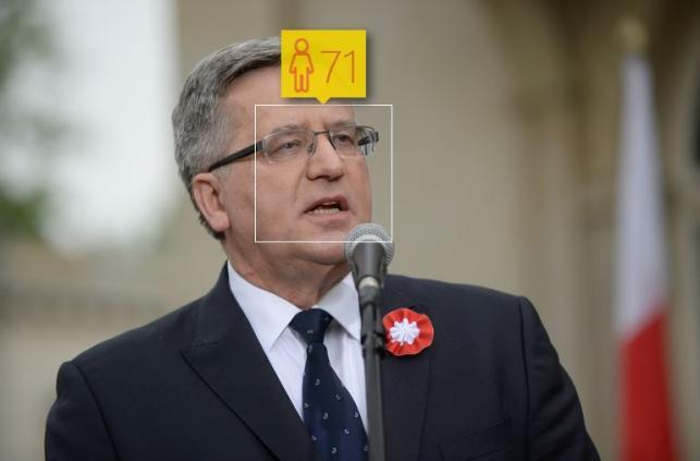 Bronisław Komorowski i jego wiek według How-Old.net
