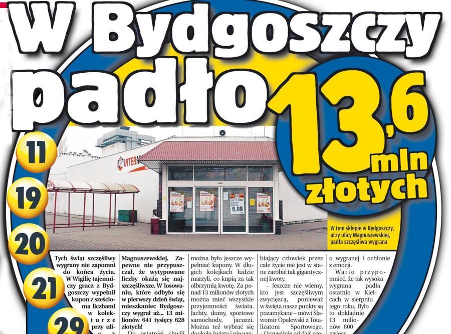 Szczęśliwiec z Bydgoszczy wygrał w świątecznego totolotka 13 milionów 641 tysięcy 628 złotych