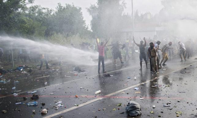 Starcia na granicy węgiersko-serbskiej. Szturm imigrantów, lecą butelki i kamienie... ZDJĘCIA