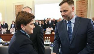 Premier Beata Szydło i minister skarbu Dawid Jackiewicz