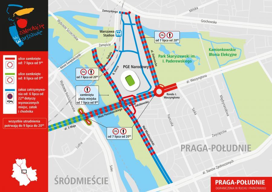 Plan ograniczeń w czasie szczytu NATO - Warszawa Praga-Południe
