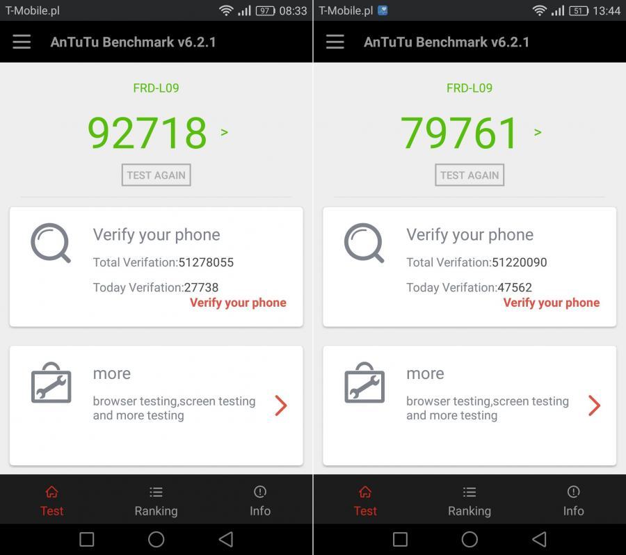 Honor 8 - wyniki testu AnTuTu Benchmark - porównanie