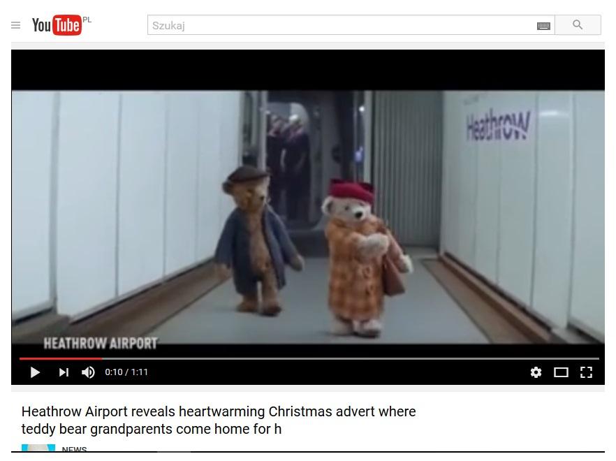 Reklama lotniska Heathrow Boże Narodzenie 2016