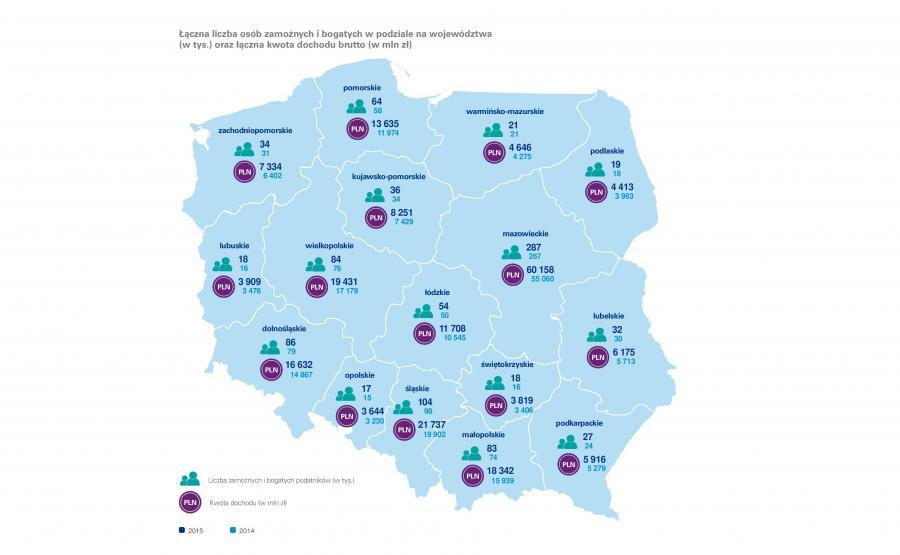 Mapa zamożnch i bogatych Polaków