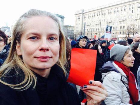 Magdalena Cielecka na Strajku Kobiet